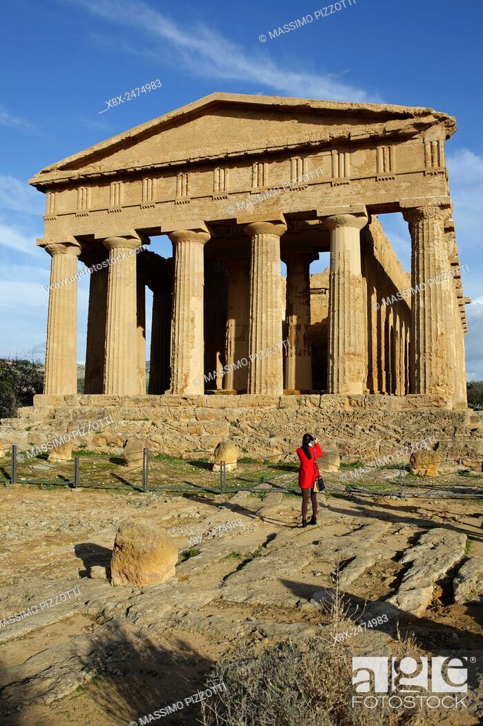 Stock Photo: The Temple of Concordia at Valley of the Temples, Agrigento, Sicily, Italy.