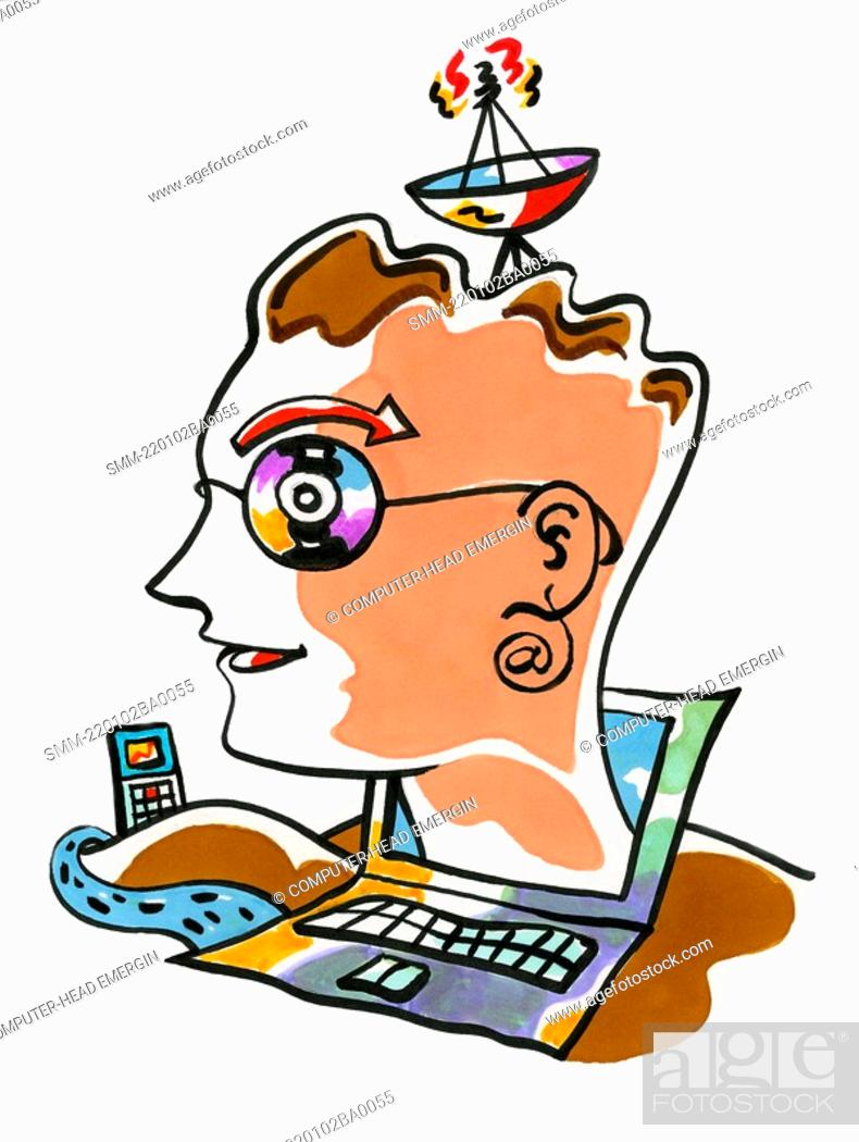 Stock Photo: Computer-head emerging from monitor.