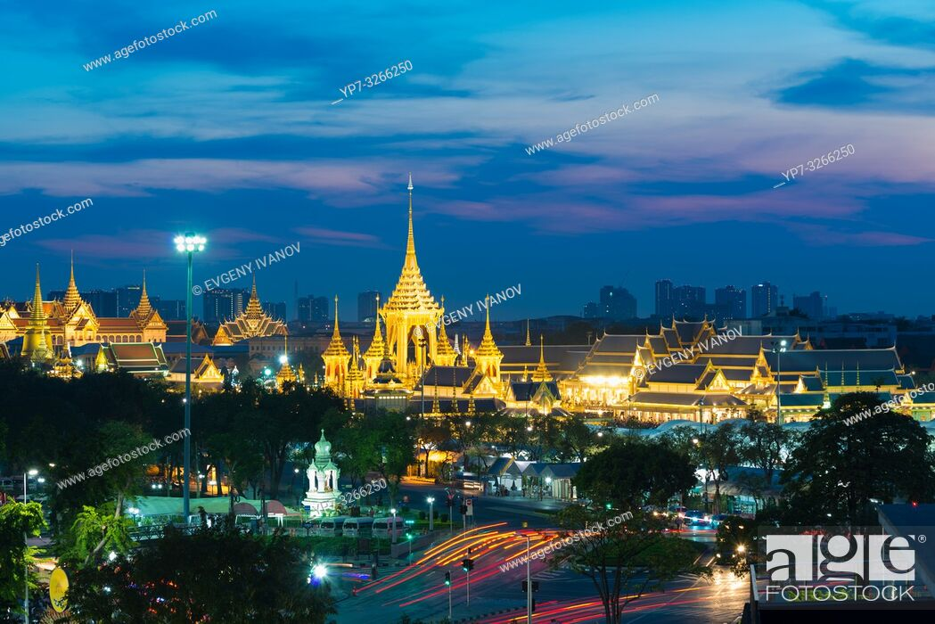Stock Photo: Sanam luang park with golden spears at night in Bangkok, Thailand.