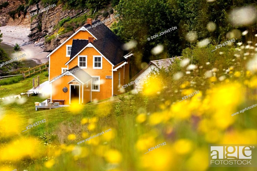 Stock Photo: Maison Blanchet (Historic house) and roadside wildflowers along Gulf of St. Lawrence. Gaspésie, Quebec, Canada.