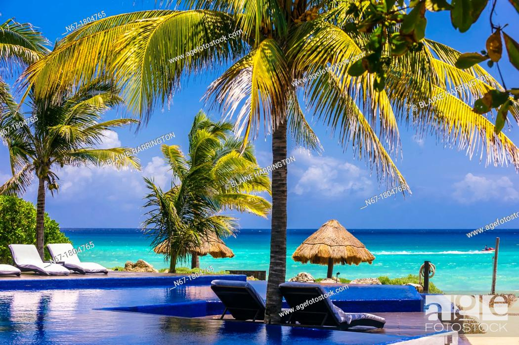 Infinity pool and palapas on a secluded beach with the Caribbean Sea