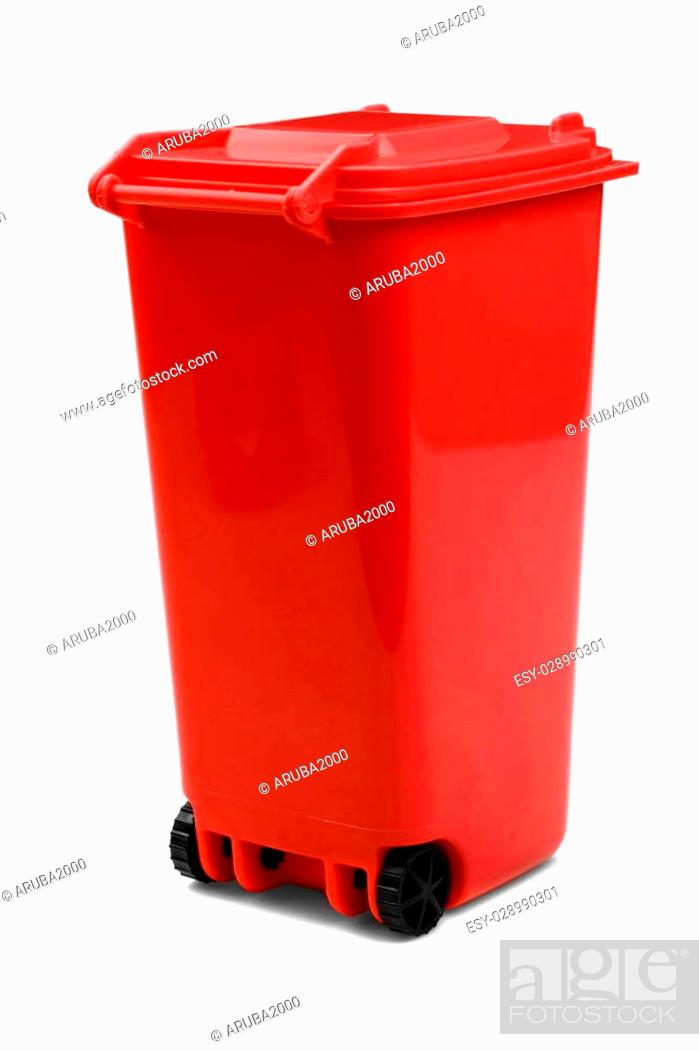Stock Photo: Red Plastic Waste Container Or Wheelie Bin, Isolated On White Vertical Background, Close Up.