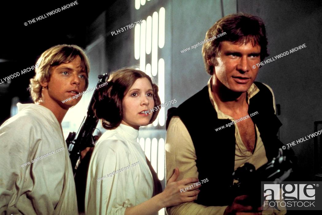 Stock Photo: Studio Publicity Still of Harrison Ford, Carrie Fisher and Mark Hamill in Star Wars 1977 20th Century Fox.