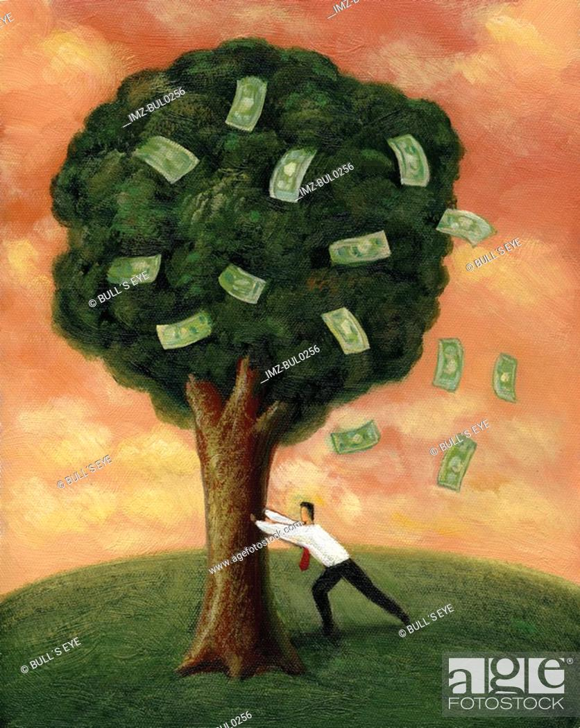 Stock Photo: Businessman shaking a tree, with banknotes falling out.