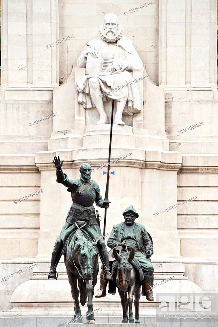 Stock Photo: Cervantes monument in the Plaza de Espana, Madrid, Spain.