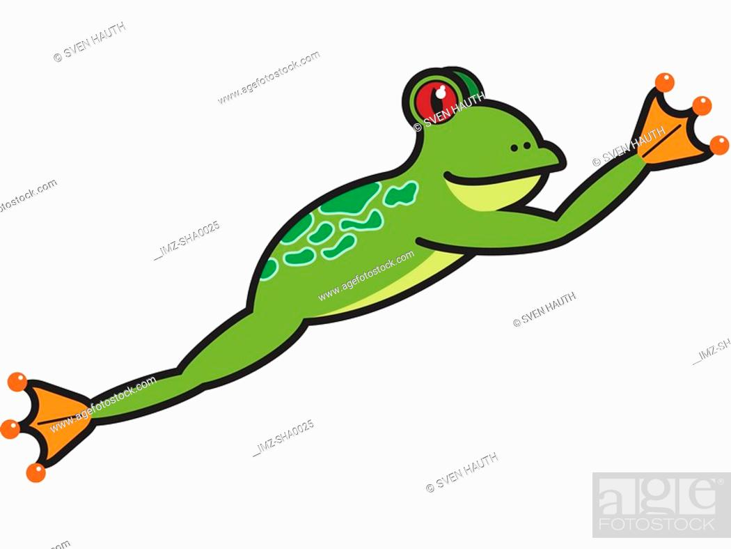 Stock Photo: A leaping frog drawn on a white background.