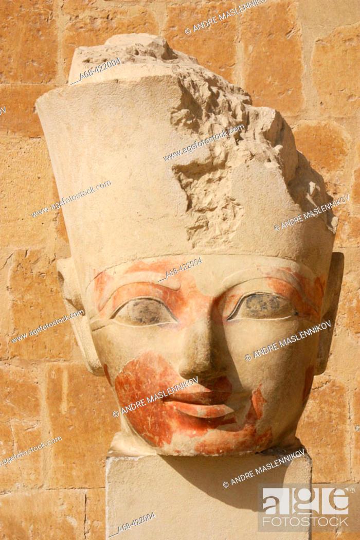 Stock Photo: Sculpture in Hatshepsuts temple at Deir el-Bahri, near Thebes. Luxor, Egypt.