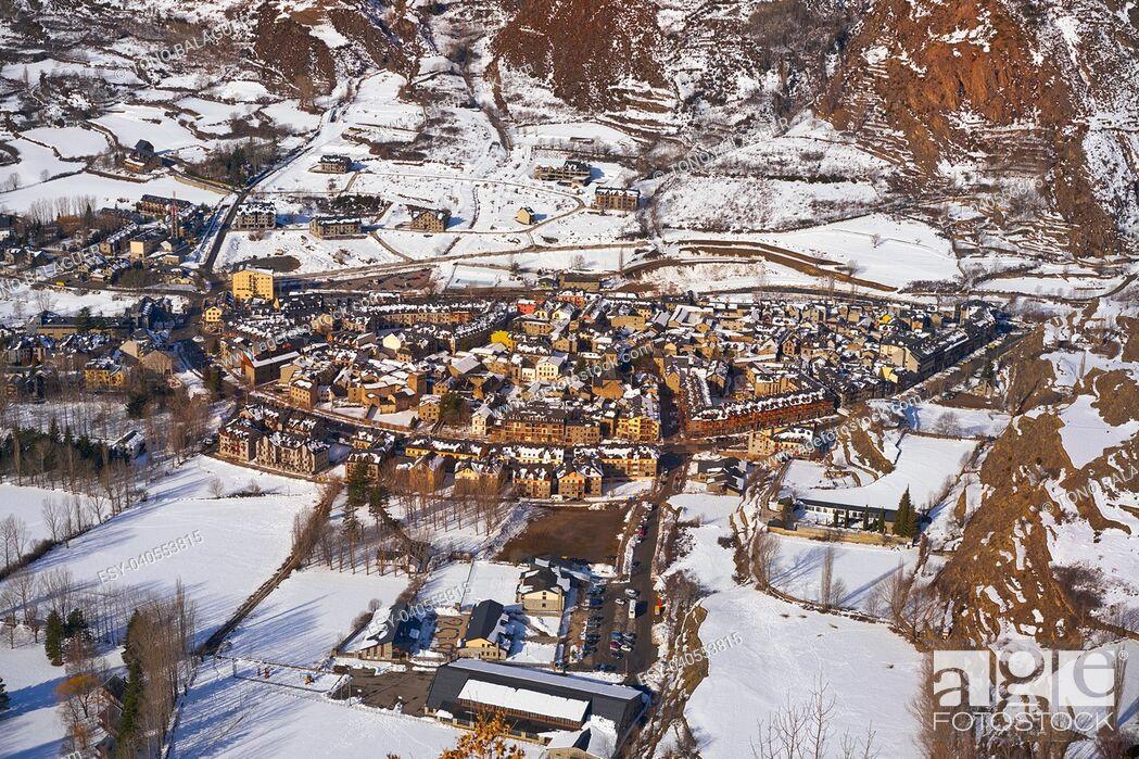 Stock Photo: Benasque village Benas aerial view in Huesca Pyrenees of Spain.