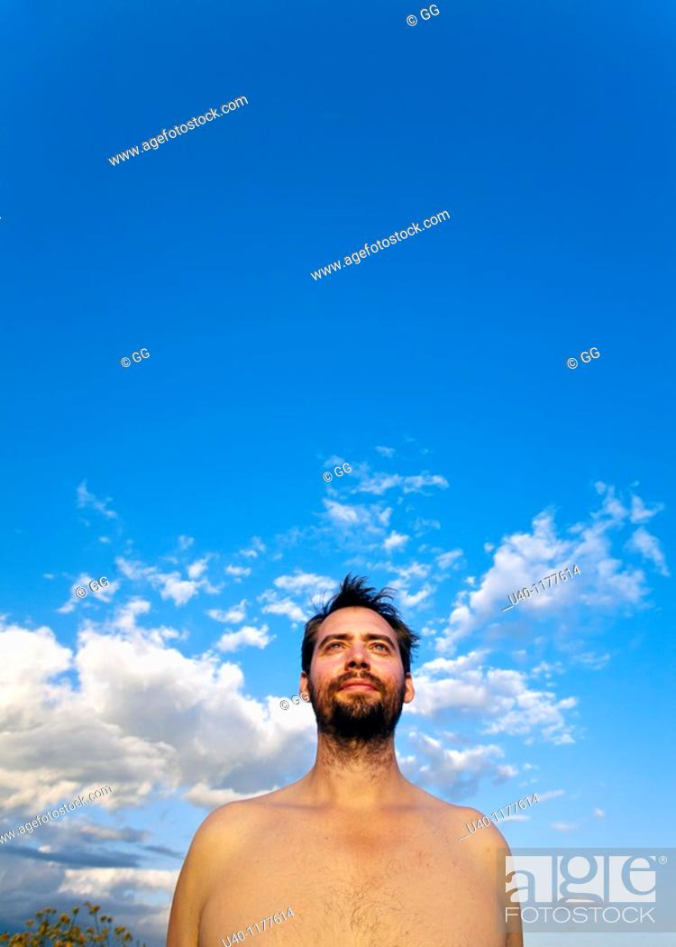 Stock Photo: Portrait of a man with no shirt.