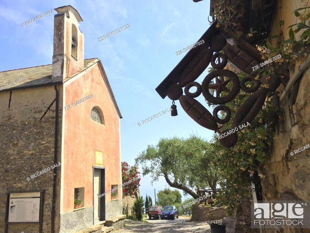 Stock Photo: Italy, Liguria, Colla Micheri, Old Village, Church. . . .
