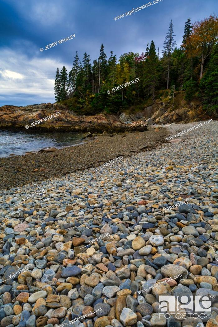 Stock Photo: Smooth Colorful Stones on Little Hunters Beach in Acadia National Park, Maine.