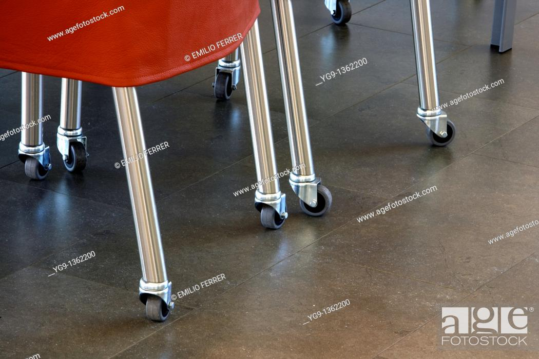 Stock Photo: Chairs with small wheels  Girona  Spain.