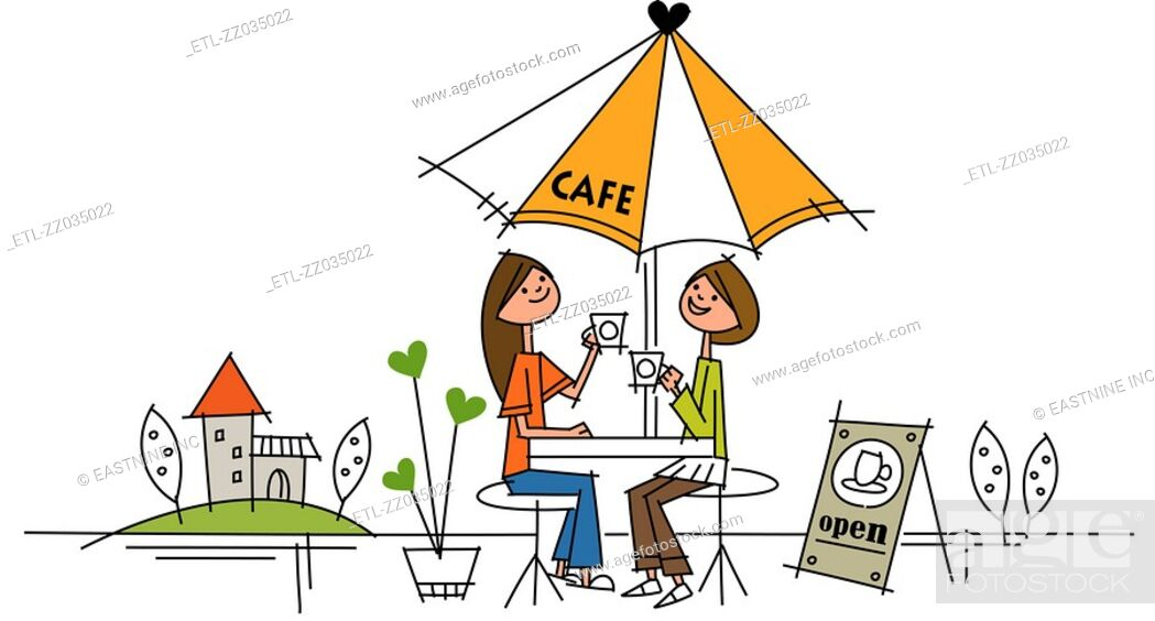 Stock Photo: Two women sitting at a sidewalk cafe and smiling.