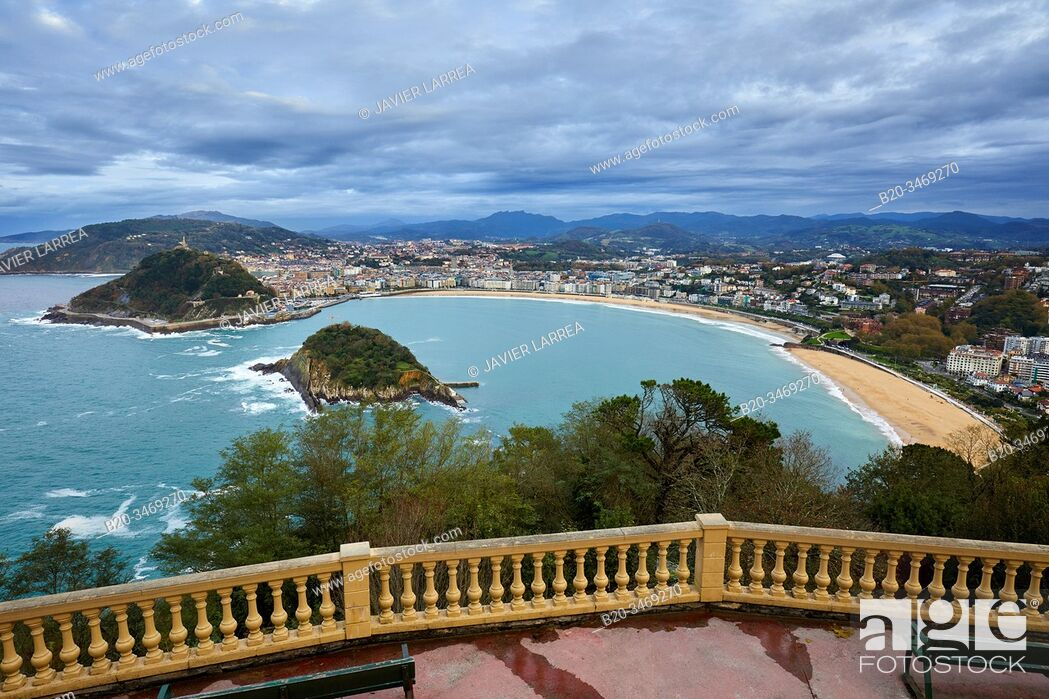 Stock Photo: La Concha Bay, Igeldo Mountain, Donostia, San Sebastian, Gipuzkoa, Basque Country, Spain, Europe.