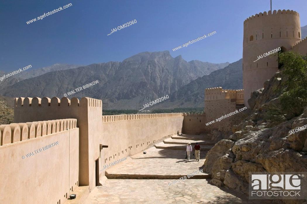 Stock Photo: Oman, The Batinah Plain, Nakhal Fort & the Hajar Mountains.