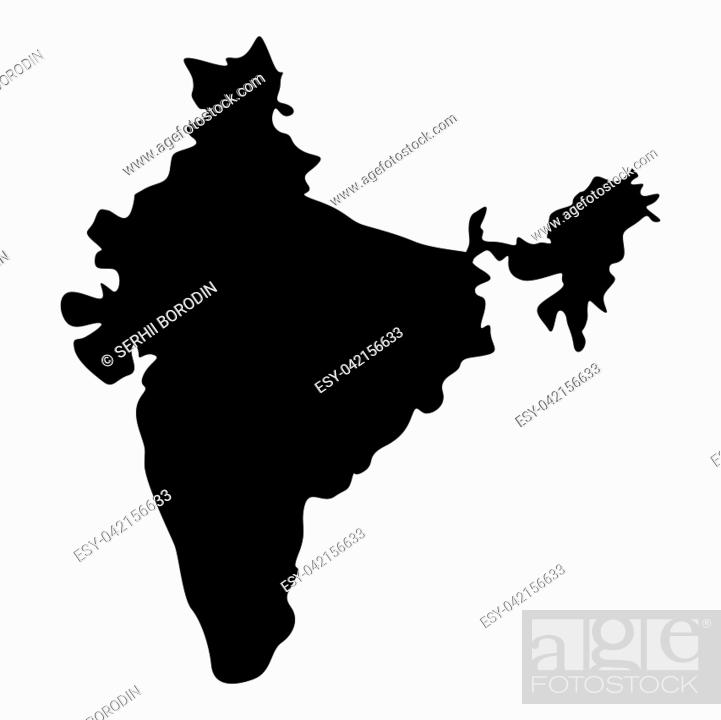 Vector: Map of India icon black color vector illustration flat style simple image.
