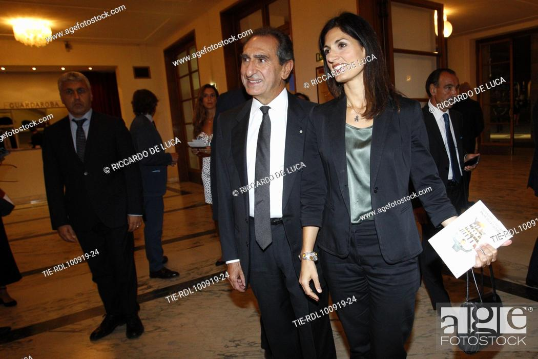 Stock Photo: Carlo Fuortes, Mayor of Rome Virginia Raggi arrive at the Premiere of theatrical performance ' Waiting for the Sibyl ' at Opera Theatre of Rome.