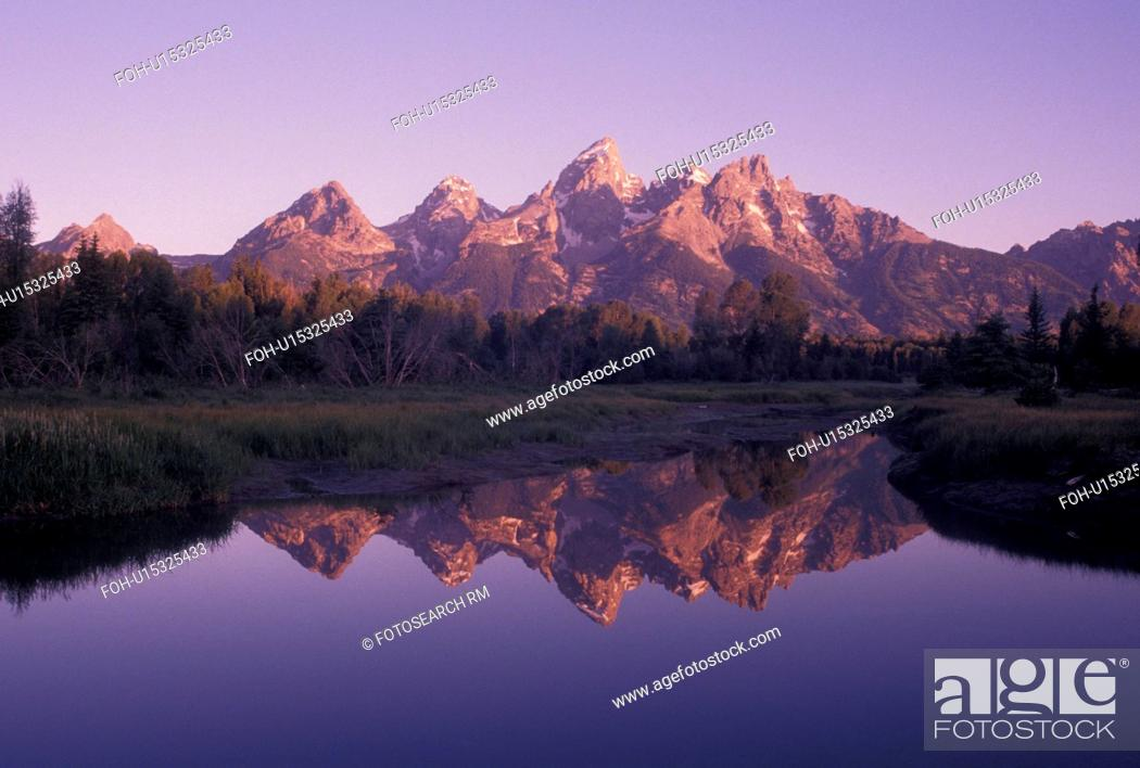 Stock Photo: Grand Teton National Park, Snake River, Jackson Hole, WY, Wyoming, Scenic view of the Grand Teton Mountains reflecting in the calm waters of the Snake River at.