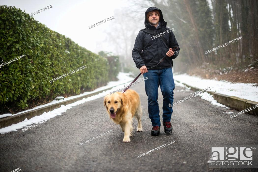Stock Photo: portrait of a 40 year old man walking with his dog on a leash in a winter day with snow.