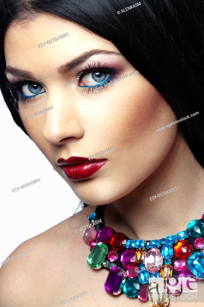 Stock Photo: Closeup portrait of beautiful face with perfect makeup.