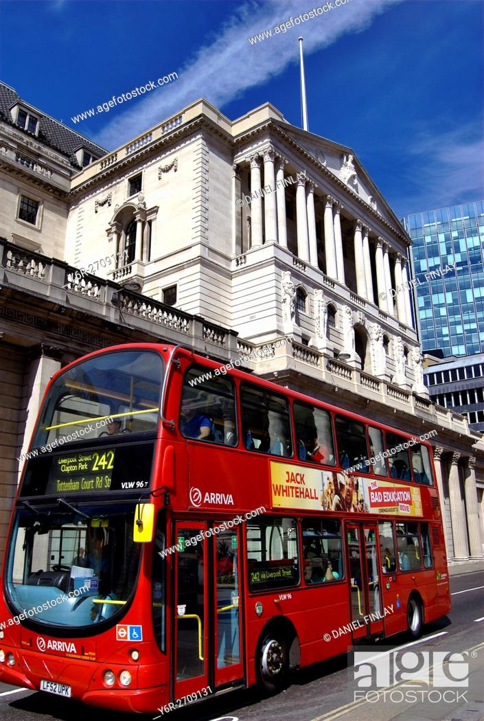 Stock Photo: The Bank of England on a sunny day in the heart of the City of London financial district.