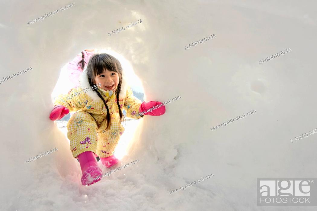 Stock Photo: Kid playing in the snow.
