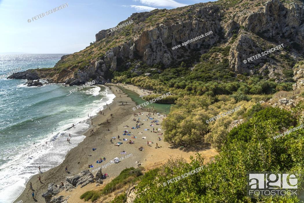 Stock Photo: Der Palmenstrand von Preveli, Kreta, Griechenland, Europa | Preveli Palm beach, Crete, Greece, Europe.
