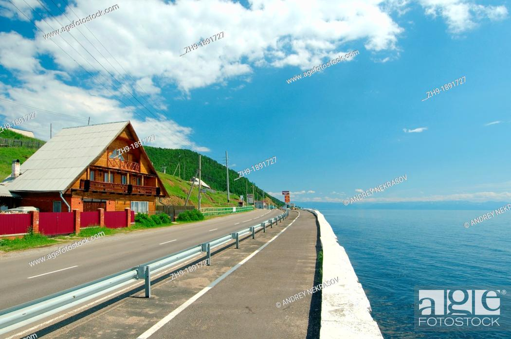 Stock Photo: Embankment settlement Listvyanka, Lake Baikal, Irkutsk region, Siberia, Russian Federation.