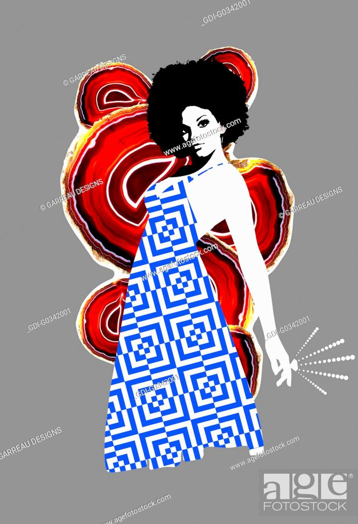 Imagen: Afro disco woman on gray background.
