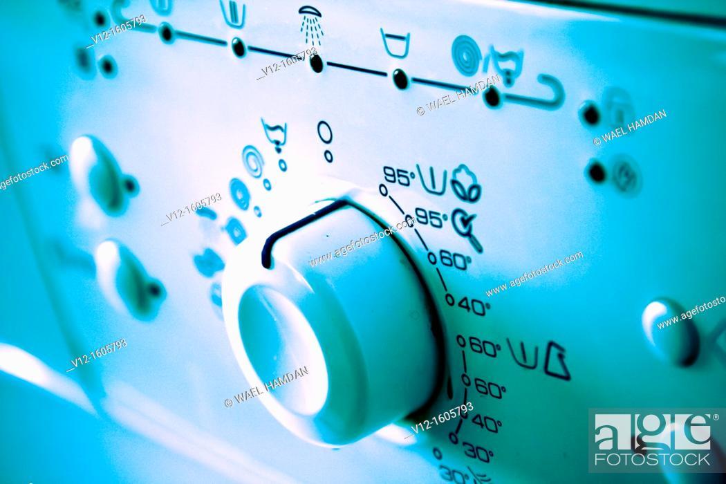 Stock Photo: Control panel of washing machine.