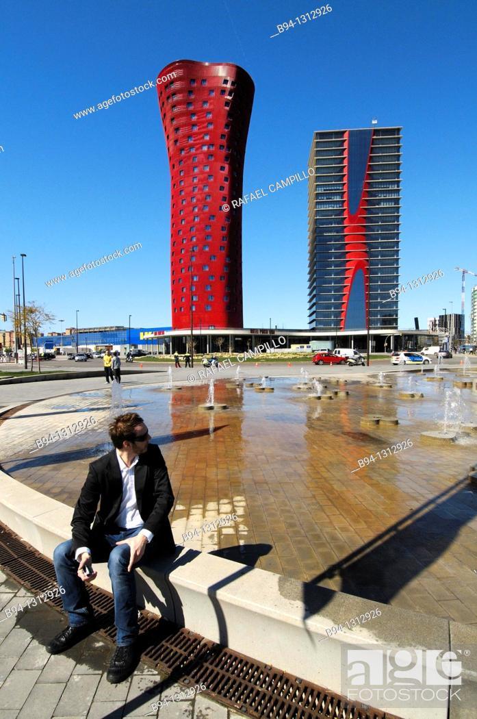 Stock Photo: Plaza Europa. Hotel Porta Fira by Toyo Ito, 2010 left and Realia Tower by Toyo Ito, 2010. Hospitalet de Llobregat. Barcelona. Catalonia. Spain.