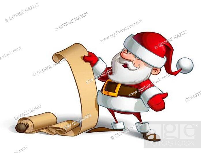 Stock Photo: Smilling Santa - Gift Scroll.