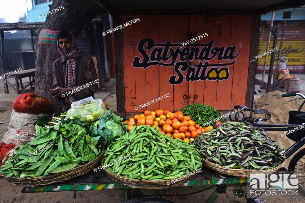 Stock Photo: Vegetable seller ( Bihar, India).