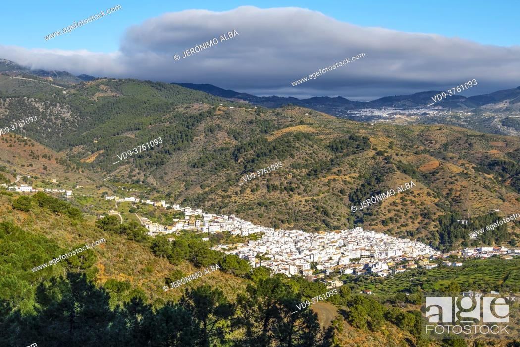 Stock Photo: View of the white village of Tolox at Natural Park Sierra de las Nieves, Malaga Province. Andalusia. Southern Spain Europe.