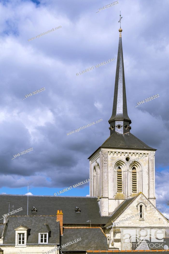 Stock Photo: Crooked Spire of Saint Peter Church at Saumur, Maine et Loire, Pays de la Loire Region, Loire Valley, France, Europe.