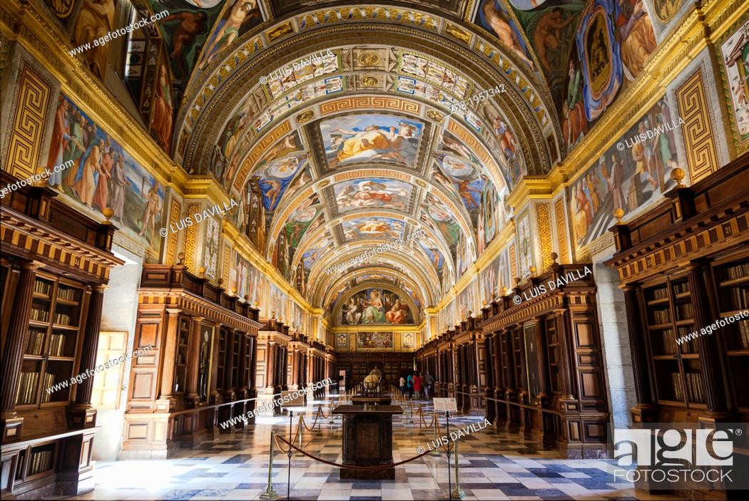 Stock Photo: library in Monastery of San Lorenzo de El Escorial.