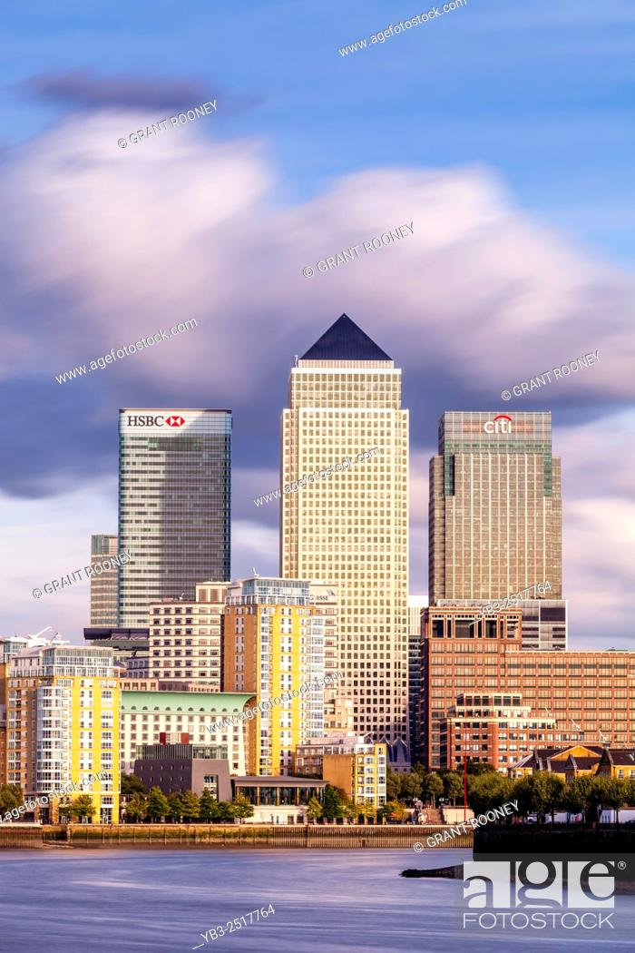 Stock Photo: The River Thames and Canary Wharf, London, UK.