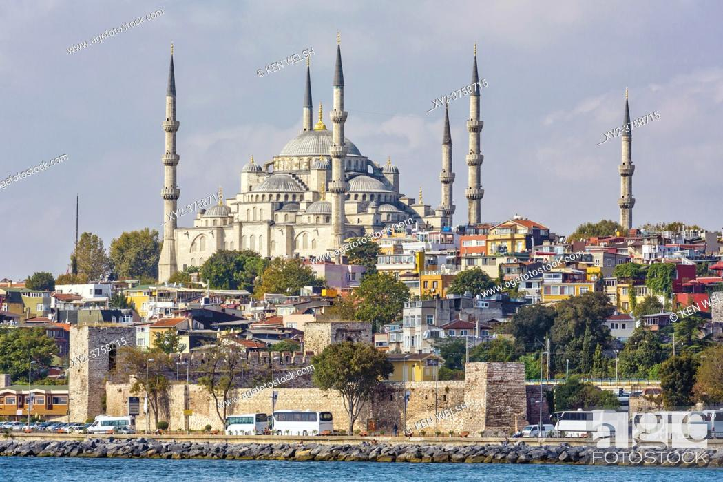 Stock Photo: Istanbul, Istanbul Province, Turkey. The Sultan Ahmet or Sultanahmet Mosque, also known as the Blue Mosque seen from the Sea of Marmara.