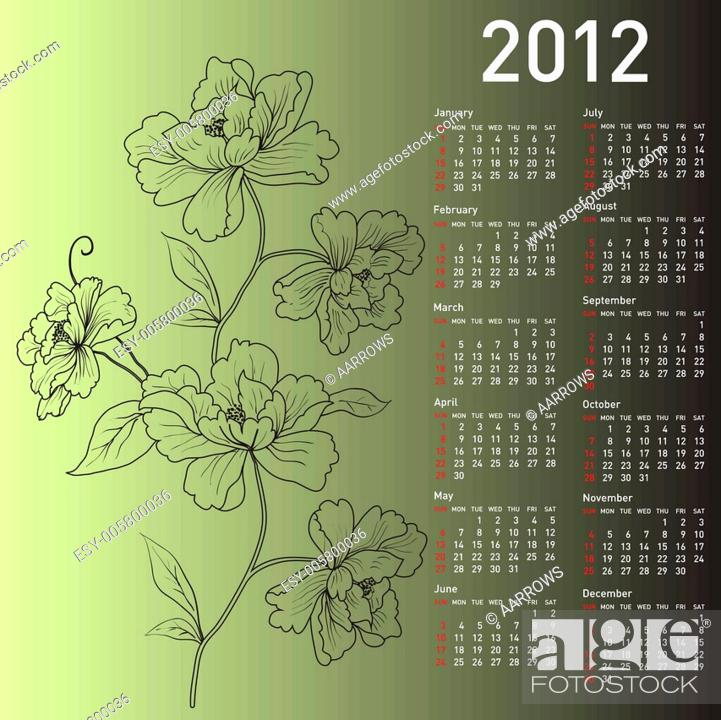 Stock Vector: 2012 vector calendar with flowers.