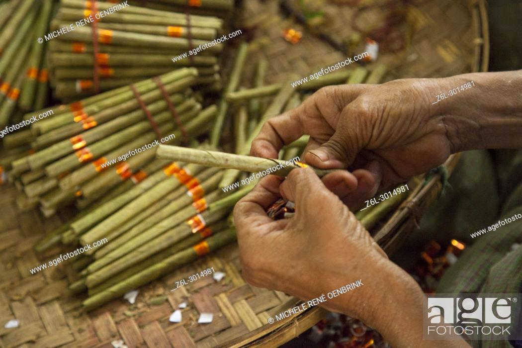 Stock Photo: Cigar factory in Myanmar.