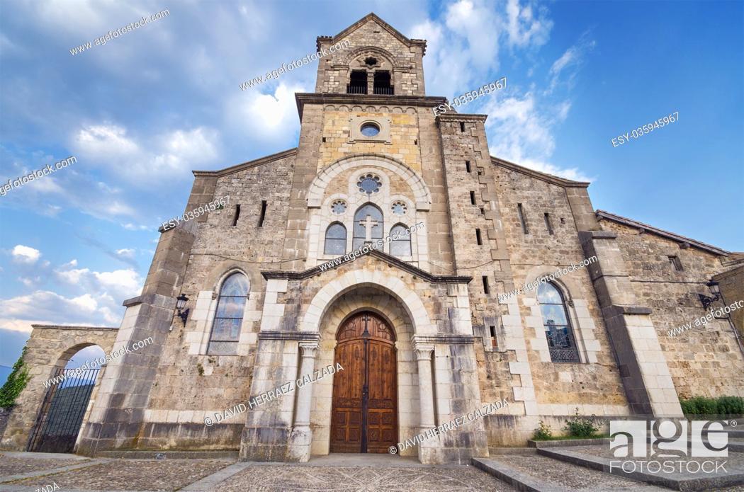 Stock Photo: Church of San Vicente Martir and San Sebastian at dusk, in Frias, Burgos, Spain.