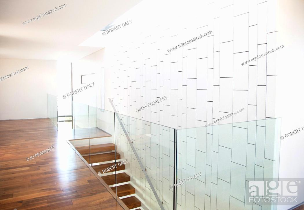 Stock Photo: Modern corridor and staircase in house.