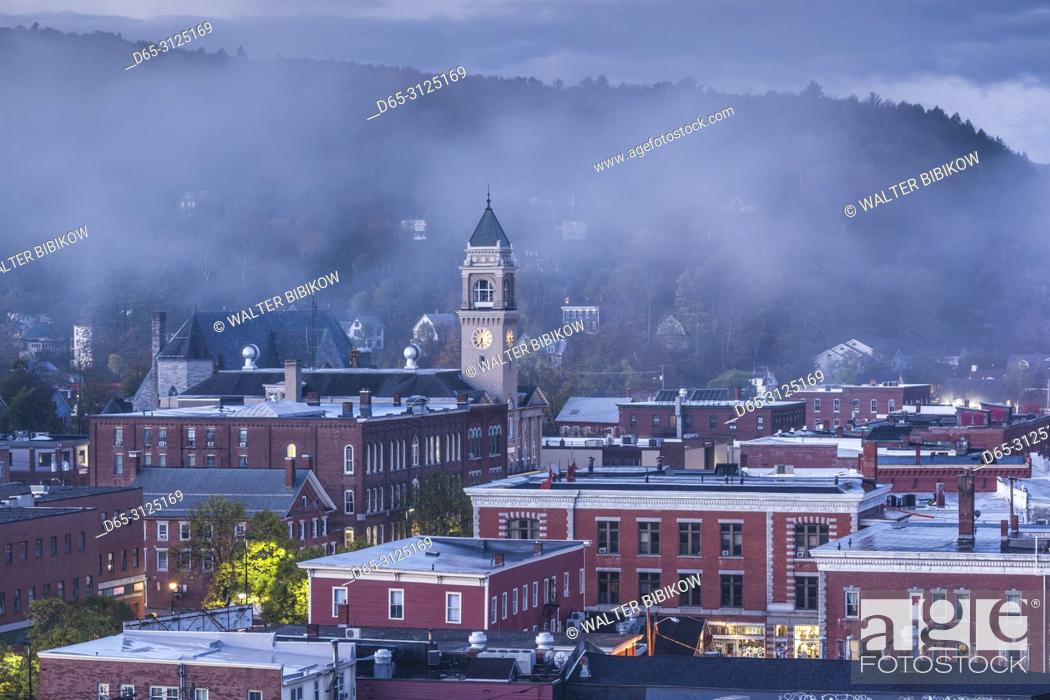 Stock Photo: USA, New England, Vermont, Montpelier, elevated town view, dawn with morning fog, autumn.