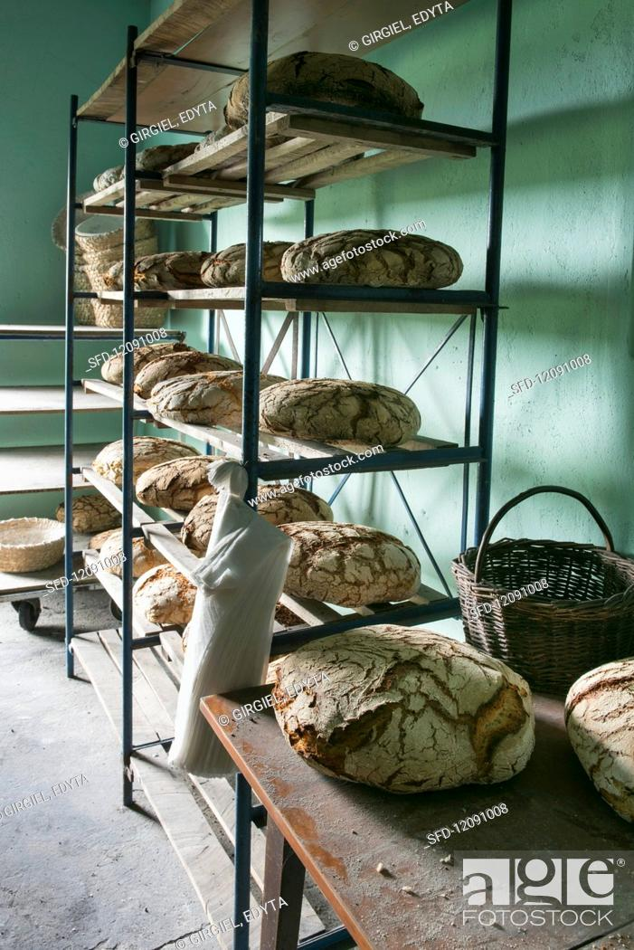 Stock Photo: Rye loaves on shelves in a bakery.
