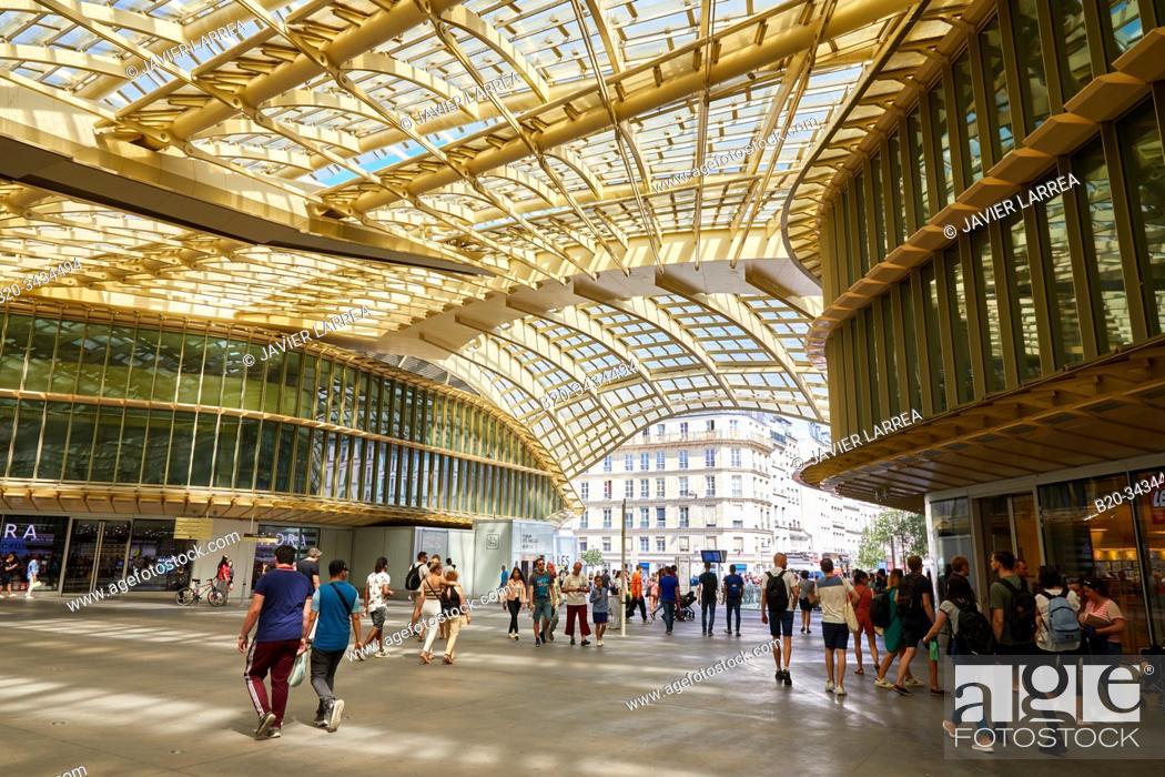 Stock Photo: Forum des Halles, the Canopy (2016) designed by architects Patrick Berger and Jacques Anziutti, Châtelet -Les Halles, Paris, France.