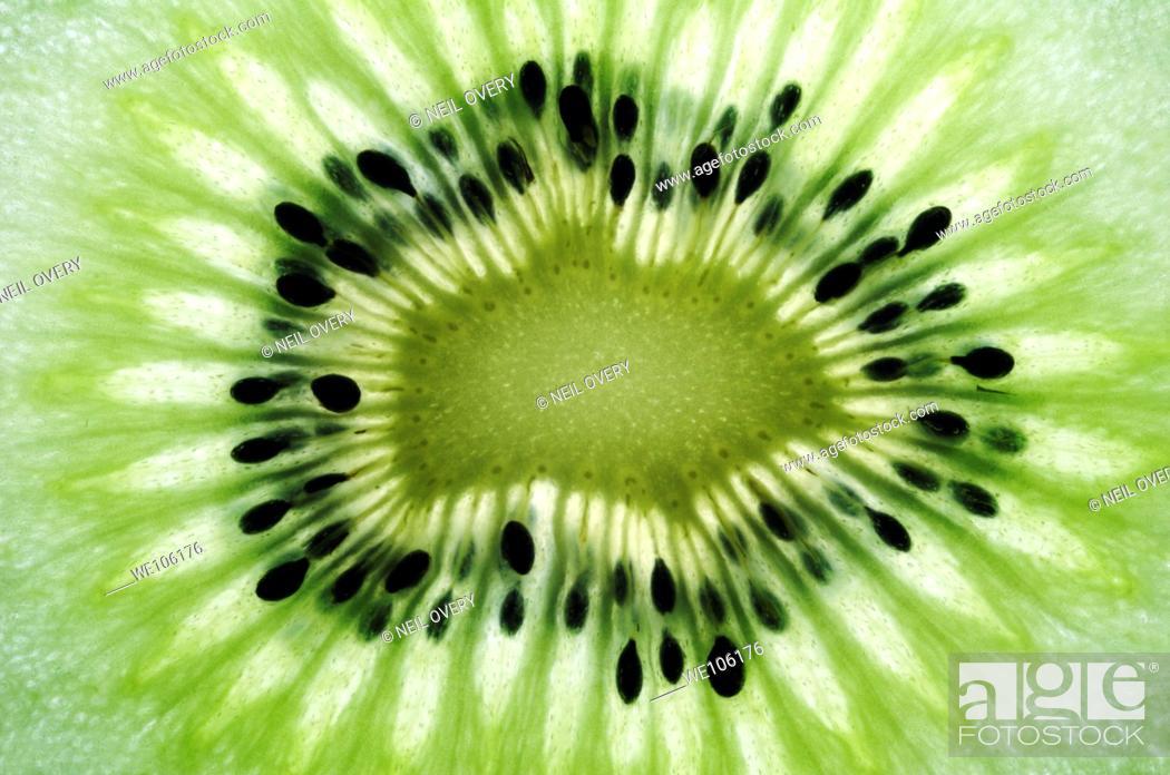 Stock Photo: Sliced Kiwi Fruit.