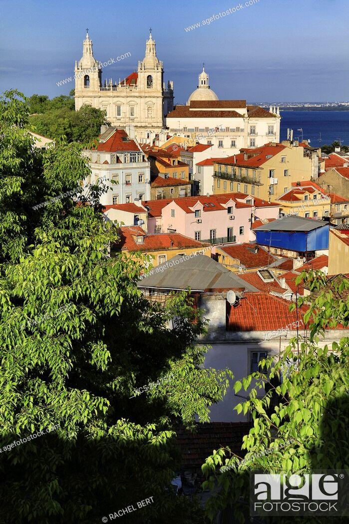 Stock Photo: Panoramic view of Alfama, Lisbon, Portugal.
