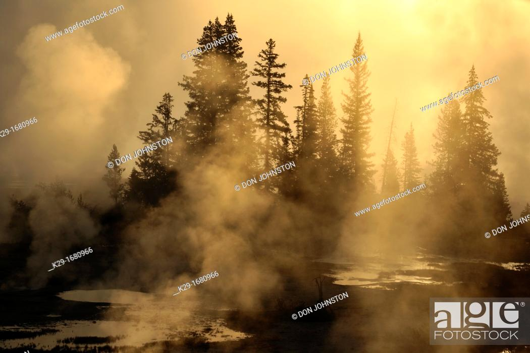 Stock Photo: West Thumb Geyser Basin, Yellowstone NP, Wyoming, USA.