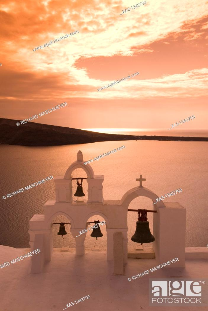 Stock Photo: Bell tower, Oia, Santorini, Greece.