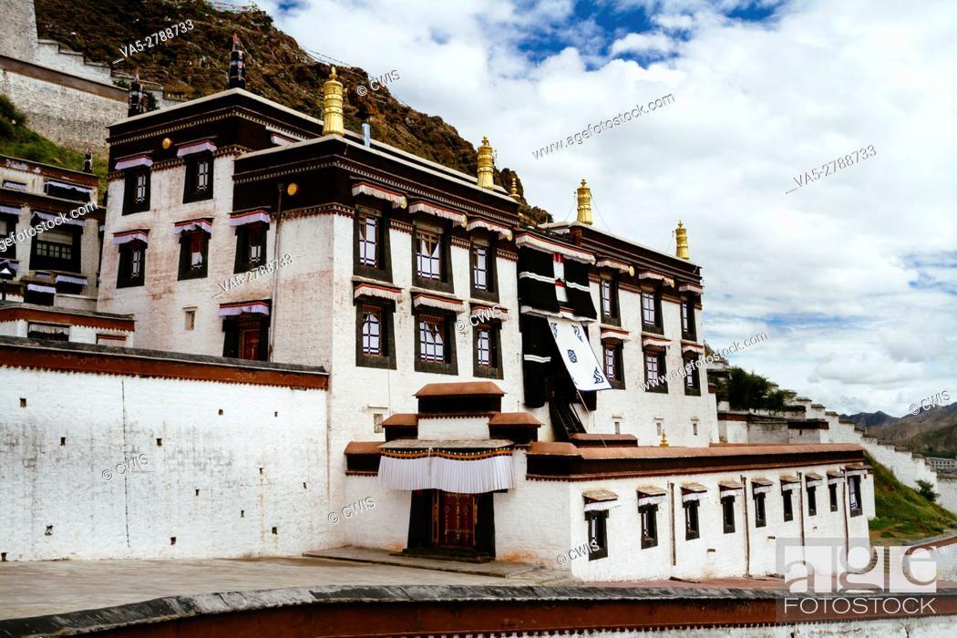 Stock Photo: Shigatse, Tibet, China - The view of Tashilhunpo Monastery in the daytime.